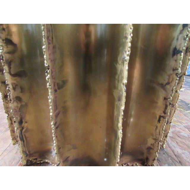 Mid-Century Brutalist Brass & Glass Cocktail Table - Image 4 of 5