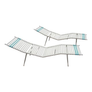 A Pair of Stunning Vinyl Strapped Mid-Century Poolside Lounges For Sale