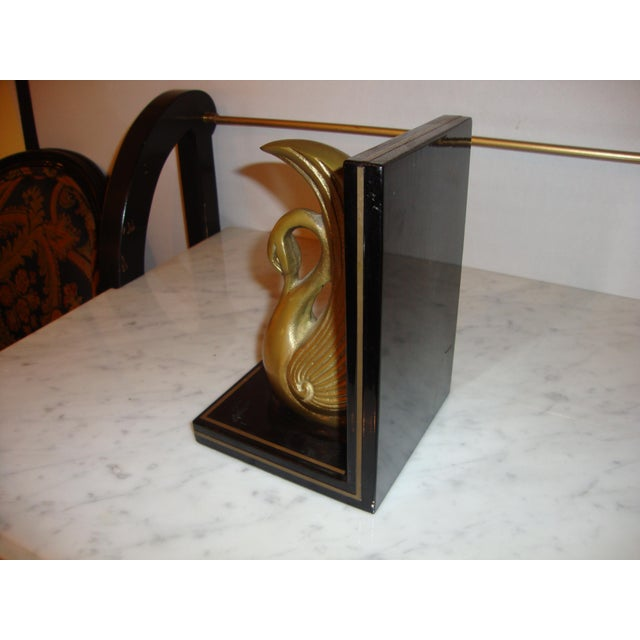Metal Art Deco Swan Book Ends - A Pair For Sale In New York - Image 6 of 7