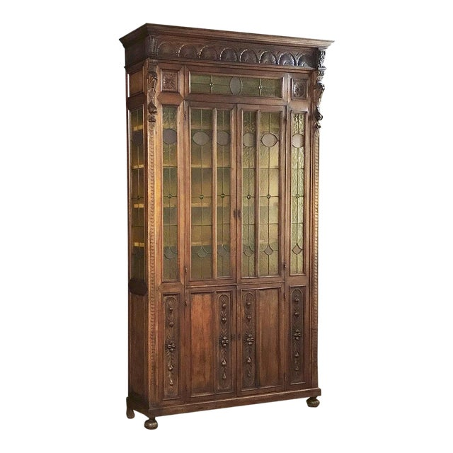 Grand 19th Century Italian Renaissance Stained Glass Bookcase For Sale