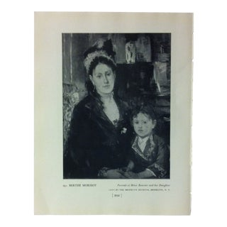"""Circa 1940 """"Portrait of Mme. Boursier and Her Daughter"""" by Berthe Morisot a Masterpiece of Art Print For Sale"""
