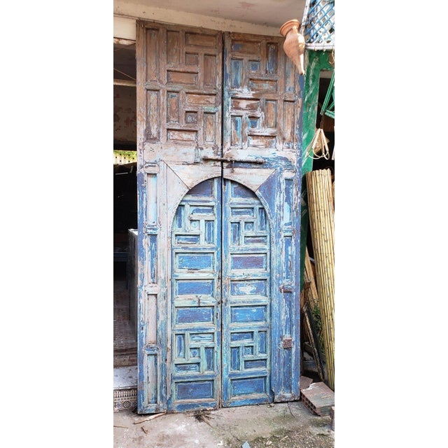 Wood 1940s Vintage Moroccan Old Hand Painted Double Door For Sale - Image 7 of 8
