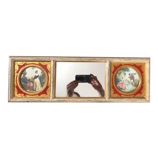 Vintage Three Panel Florentine Trumeau Mirror For Sale