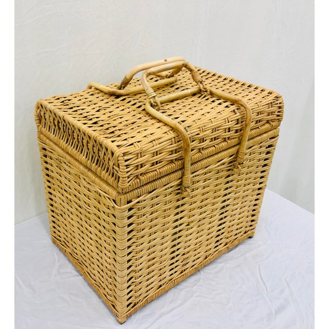 Late 20th Century Woven Wicker Filing Box For Sale - Image 5 of 12