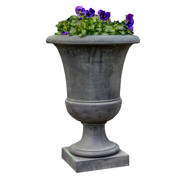 An urn planter with a lead antique finish. This listing is for the planter only. No plants are included with purchase.
