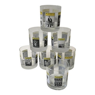 Broadway Playbill Theatre Motif Cocktail Old Fashioned Glasses - Set of 7 For Sale