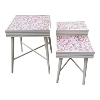 Mid-Century Modern Ceramic Tiles Side Tables- Set of 2 For Sale