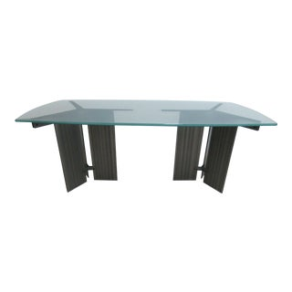 Vintage Industrial Steel Pedestal Conference Table For Sale