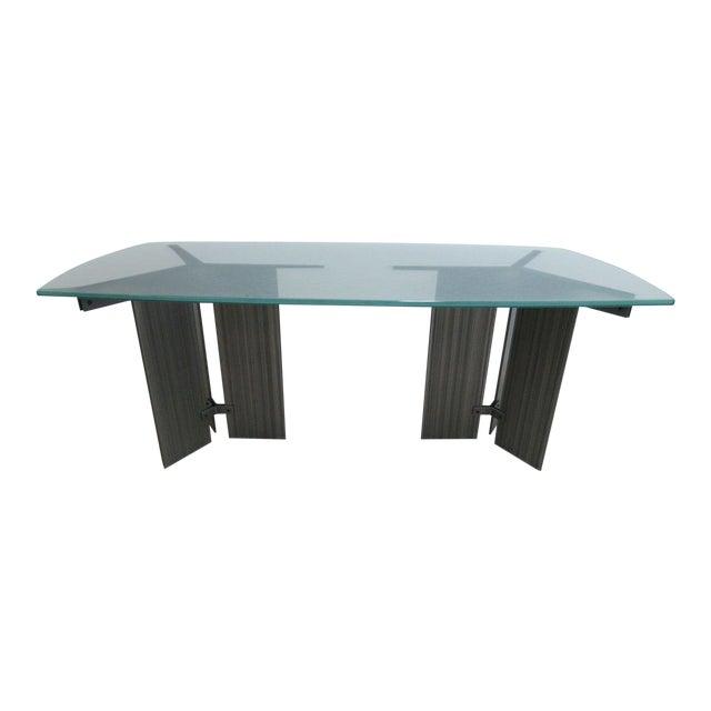 Vintage Industrial Steel Pedestal Conference Table Chairish - Pedestal conference table