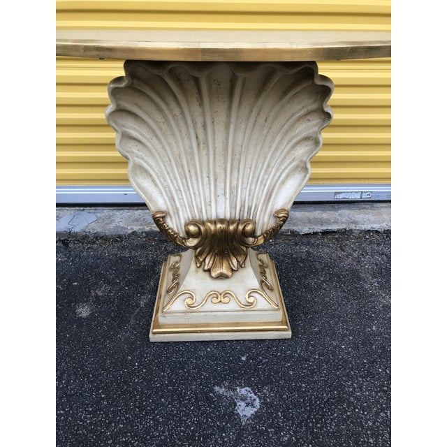 Boho Chic Hollywood Regency Shell Console Table For Sale - Image 3 of 11