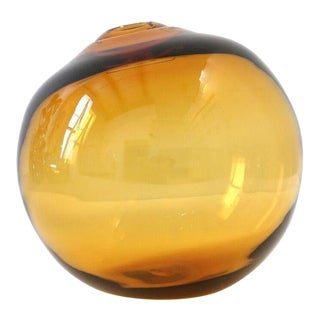 "SkLO Float Glass Vessel 12"" - Amber For Sale"