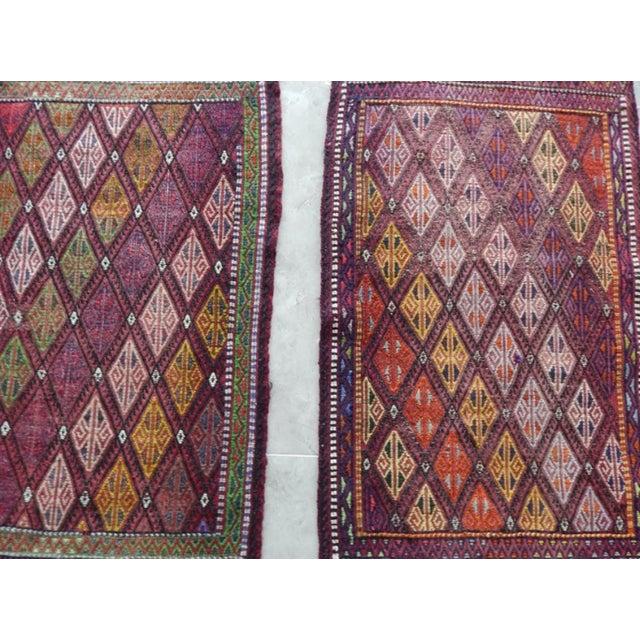 1970s Pair Handwoven Turkish Kilim Rug Pastel Colors Area Rug Petite Braided Kilim - 1′8″ × 2′9″ For Sale - Image 5 of 9