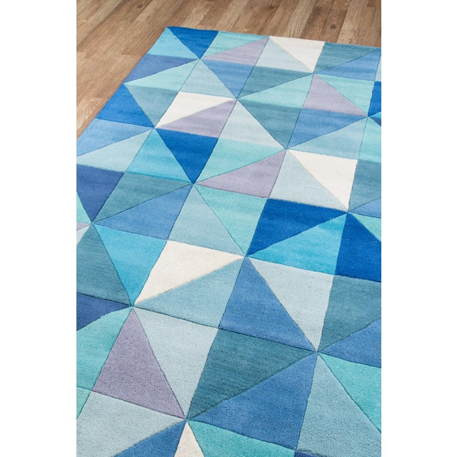 Contemporary Momeni Delhi Hand Tufted Blue Wool Area Rug - 5' X 8' - Image 2 of 6