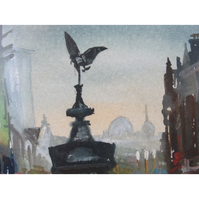 """Mid 20th Century """"Eros"""" Piccadilly Circus Painting For Sale - Image 5 of 13"""