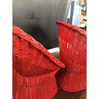 1970's Vintage Red Wicker Chairs- a Pair Preview