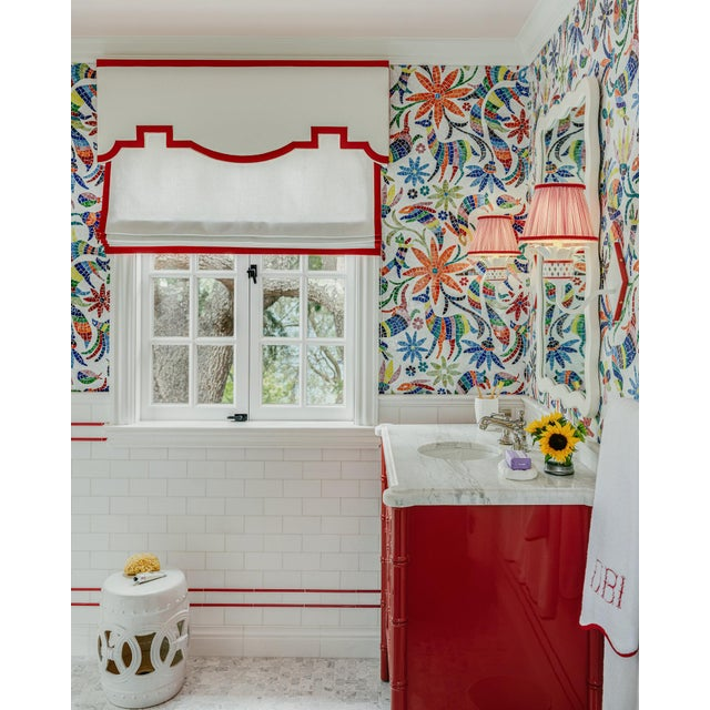 Featured in The 2020 San Francisco Decorator Showcase — C.E.H. Custom Red Lacquered Bamboo Vanity For Sale - Image 4 of 6