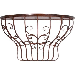 Italian Wall Mounted Wrought Iron Console Table For Sale