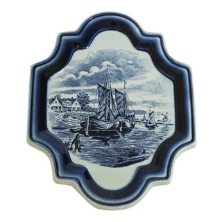 Vintage Blue and White Dutch Delft Pottery Wall Plaque For Sale