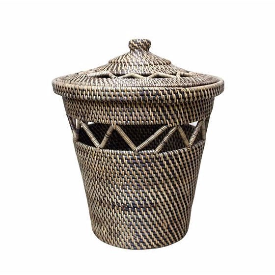 Boho Chic Open Weave Design Rattan Basket For Sale - Image 3 of 3