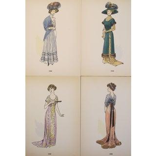 Original 1908 French Fashion Plates, Set of 4