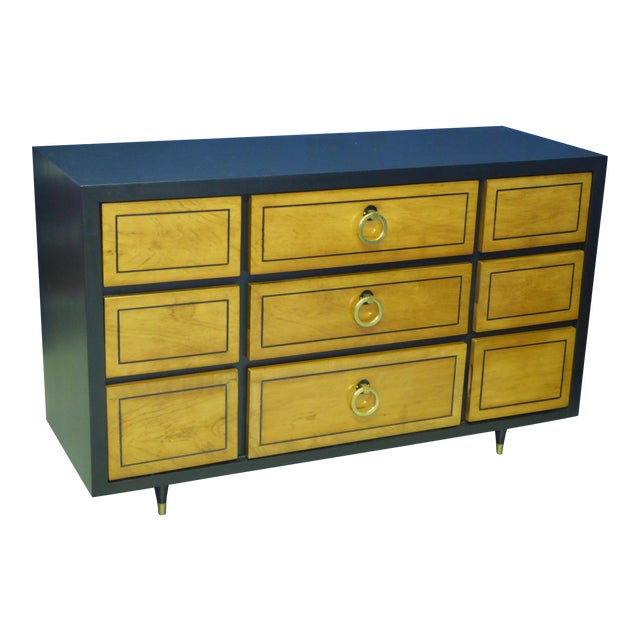 1950s Modern Ebonized Mahogany Dresser Credenza with Brass Ring Pulls For Sale