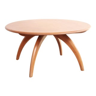 Mid Century Modern Heywood Wakefield Lazy Susan Round Coffee Table in Champagne For Sale