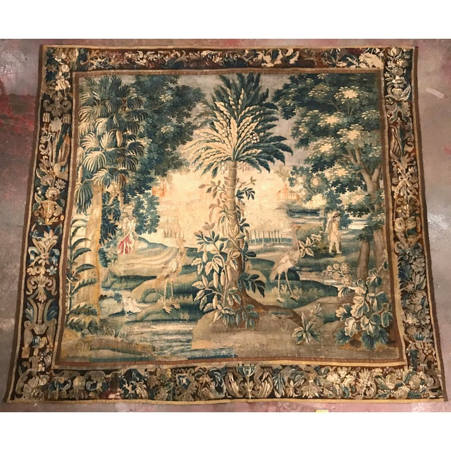 Large 18th Century French Aubusson Tapestry with Trees Birds and People - Image 7 of 11