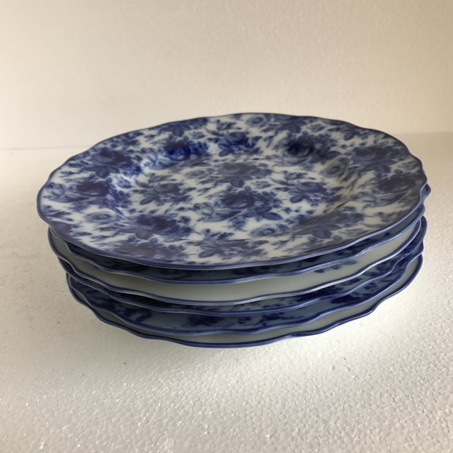 Blue Harry & David Blue and White Rose Dishes - Set of Six For Sale - Image 8 of 10