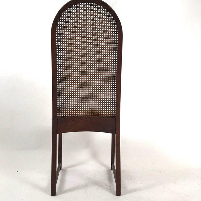 Mid 20th Century Set of Six Milo Baughman High Back Cane and Walnut Dining Chairs for Directional For Sale - Image 5 of 11