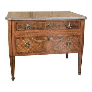 Antique French Louis XVI Marble Top Marquetry Commode For Sale