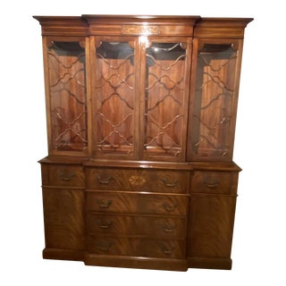 1930s Vintage Mahogany Bookcase Secretaire or China Cabinet For Sale