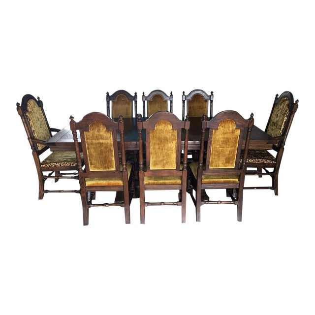 Vintage (1970-71) Ethan Allen Royal Charter Jacobean Oak Dining Room Set For Sale
