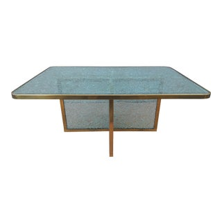 1980s Steve Chase Designed Crackled Glass and Scalloped Brass Coffee Table For Sale