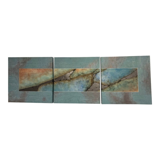 Mid-Century Three Piece Mixed Media Painting For Sale
