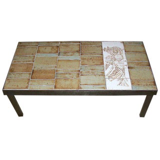 French Ceramic Coffee Table by Roger Capron, Vallauris