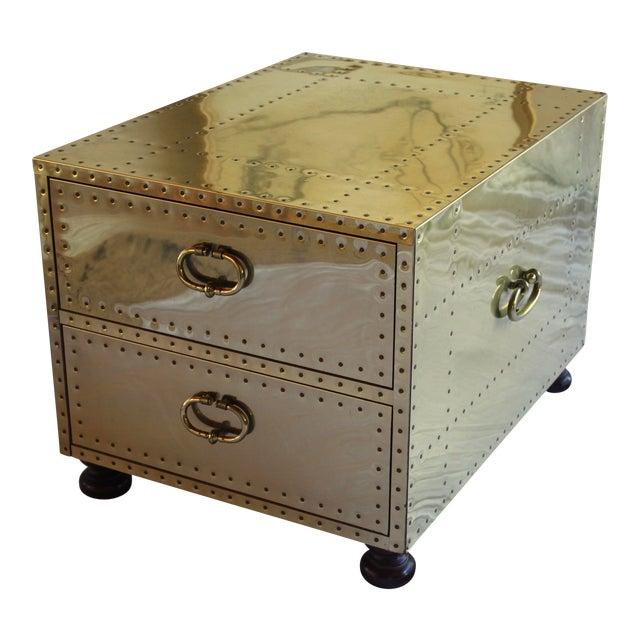 1970s Sarreid Ltd. Spanish Polished Brass Clad Studded Chest Coffee Table For Sale