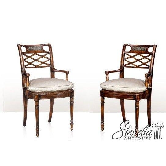 Theodore Alexander Pair Regency Mahogany Arm Chairs #4100-236 For Sale - Image 11 of 11