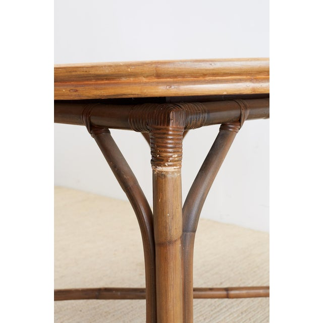 Ficks Reed Midcentury Rattan Dining Table For Sale - Image 10 of 13