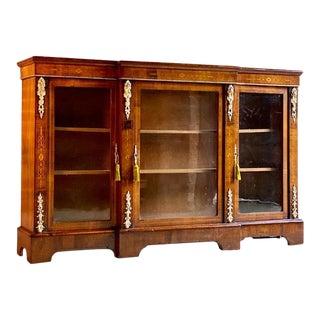 1870 Antique Napoleon III Walnut Inlaid Breakfront Bookcase Cabinet For Sale