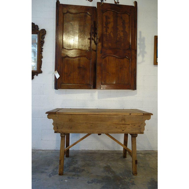 Antique Italian working kitchen prep table to make and store bread, pasta. Simple, rustic style in solid old European...