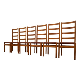 Six Oak High Back Chairs With and Brown Cognac Leather, France, 1930 For Sale
