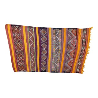 Vintage Flat-Weave Tribal Moroccan Rug For Sale