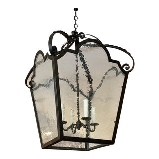 Huge Wrought Iron & Wavy Glass Hall Lantern For Sale