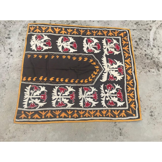 "Traditional Traditional Tablecloth / Antique Suzani Tapestry - 3'9"" x 3'5"" For Sale - Image 3 of 8"