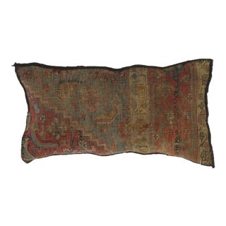 """Persian Antique Rug Fragment Pillow - 2' X 1'1"""" For Sale"""