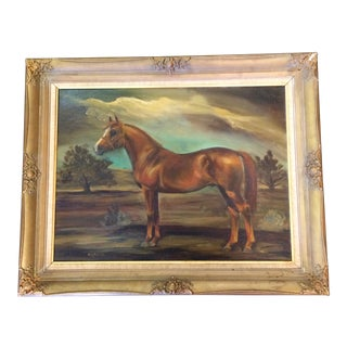 Antique Arabian Ankar Stallion Painting by Engleman For Sale