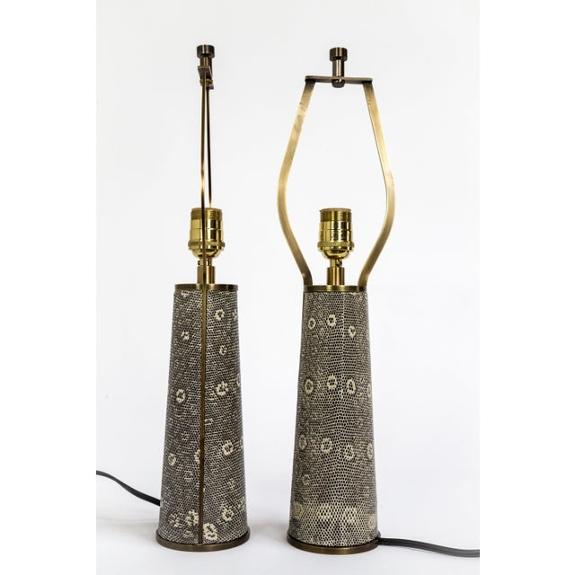 Lizard Skin & Bronze Borrego Lamps by Tuell + Reynolds - a Pair For Sale - Image 12 of 12