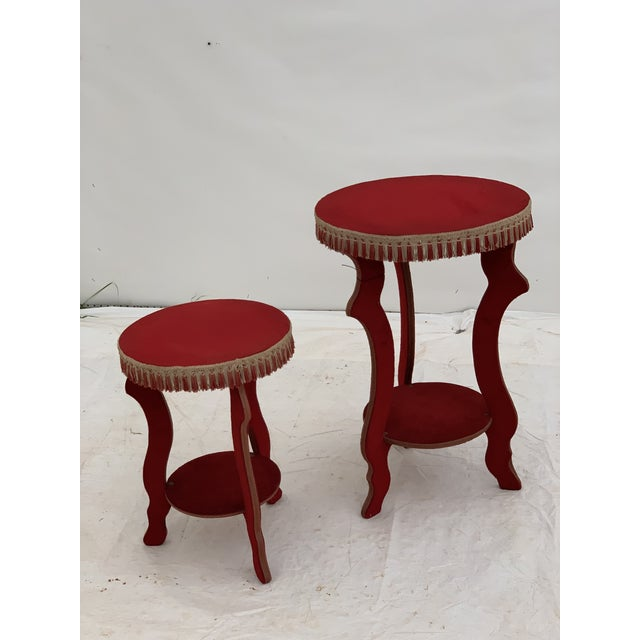 This is a fabulous pair of red fringed cocktail tables out of a brothel in Gent, Belgium circa 1970. Measurements are for...