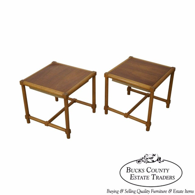 Tommi Parzinger Pair of Stools Reverse Top Low Tables For Sale - Image 11 of 11