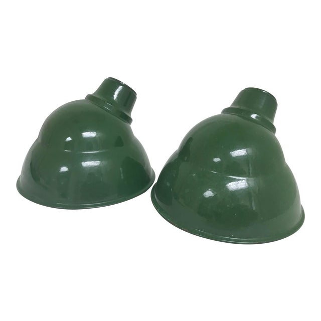 1960s Vintage Industrial Enamel Metal Elbow Light Shades - a Pair For Sale